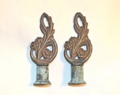 Pair of Antique Deco Style Lamp Finials, Cast Iron and Lovely