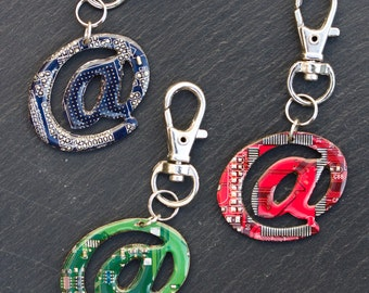 At symbol keychain - recycled circuit board keychain, bag tag, unique gift, urban style, custom color keychain
