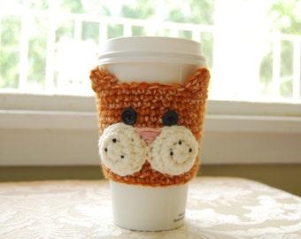 Cat Coffee Cozy, Orange Tabby Cat Cozy, Crochet Coffee Cozy, Animal Coffee Cozies, Crocheted Cat Cozy, Cat Cup Cozy, Feline Cozies for Cup