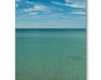 Ocean Beach Photography, Peaceful Teal Blue Waves Cerulean Cobalt Sea Azure Sky Wispy Clouds Beachy Turquoise Surf Art, Florida Gulf Beaches