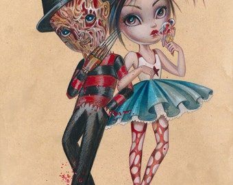 Freddie And Nancy LIMITED EDITION print signed numbered Simona Candini Art  Lowbrow pop Surreal Halloween Freaks Horror Gore Nightmare Movie