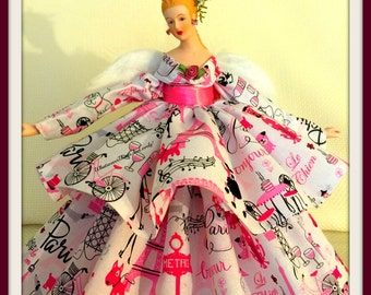 "Paris Themed Angel, Tree Topper, ""I love Paris"", OOAK Handcrafted Parisian Gift Angel, Porcelain Paris Tree Topper"