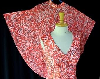 70s Maxi Dress Caplet Plus Size Abstract Print Orange Coral Montgomery Ward Sundress