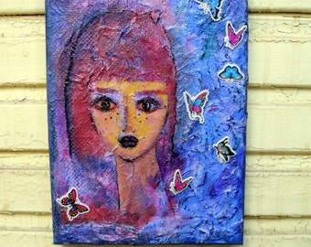 "Girl and Butterflies , Original Mixed Media Painting on 7"" x 9,5"" Canvas.Free shipping"