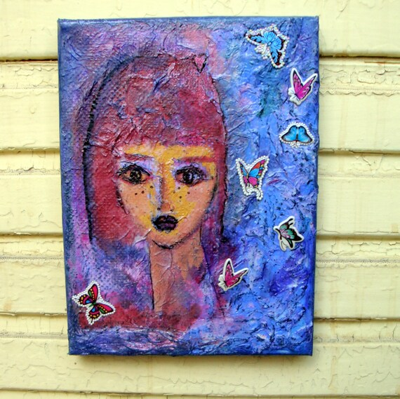 "Girl and Butterflies , Original Mixed Media Painting on 7"" x 9,5"" Canvas"