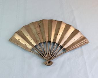 Brass trivet- Antique/ vintage pot holder- hot plate- Asian Fan Design- Japanese Fan- Chinese Fan- Heavy with feet- Kitchen accessory