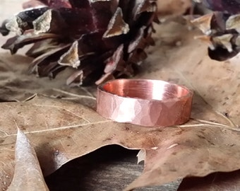 Ring Band Ring Forged Hammered Copper Rustic Wedding 7th Anniversary Casual Formal #R110