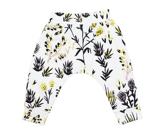 Thistle Loose Pant (With Pockets!) in Pale Pink, Ochre and Black on White