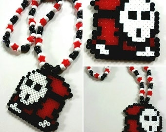 Shy Guy Kandi Necklace - Super Mario Bros. - Nintendo - Gaming - Rave - Music Festival - Perler