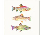Watercolor Fish Art Print. Colorful Trout Decor. Boys Room Wall Art. Fisherman's Gift. Angler Art Print. Trout / Fish Decor. Lake House Art.
