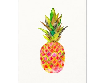 Pink Pineapple Watercolor Print.  Archival Art Print.