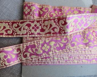 Vintage Border Trim 6+ Yds Pink with Gold Metallic 6-7/8 Yards Floral Scroll Design