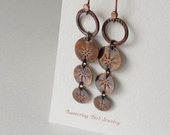 North Star Disc Earrings, Rain Chain Style Hand Stamped Copper, Long Dangle Earrings, Copper Boho Jewelry
