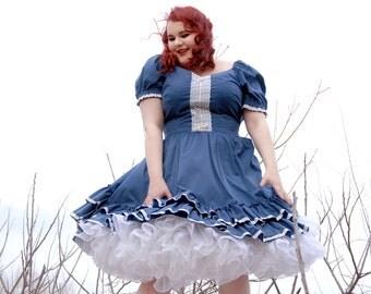 Vintage blue swing dress, square dance western, white lace, L XL plus size
