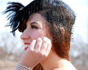 Vintage black 1950s hat, feather netting ladies pillbox headpiece, birdcage veil formal