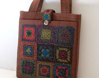 Granny Square Tote, Crochet Wool, Quilted Linen, Box of Chocolates Collection