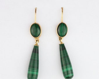 Solid 14k Gold Malachite Teardrop Dangle Earrings