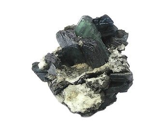 Vivianite Blue Green Slightly Iridescent Crystal with Quartz and Pyrite in Pegmatite Rock Matrix, Geology gem Mineral Specimen from Brazil