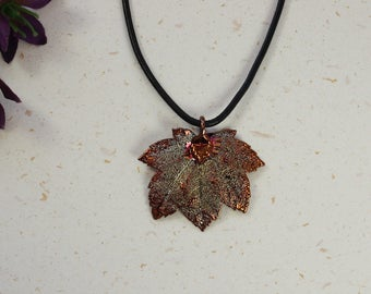 SALE Leaf Necklace, Copper Full Moon Maple Leaf, Real Maple Leaf Necklace, Copper Leaf Pendant, SALE161