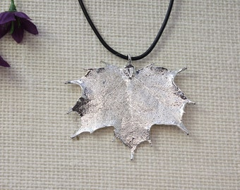 SALE Leaf Necklace, Silver Maple Leaf, Real Sugar Maple Leaf Necklace, Real Leaf Pendant, Silver Leaves, Holiday Gifts SALE162
