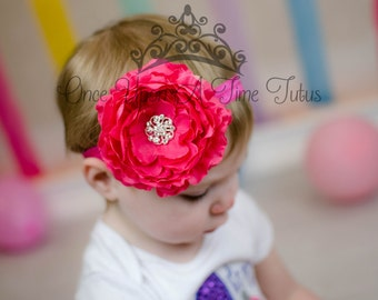 Hot Pink Ranunculus Flower Headband - Oversized Flower Hair Bow - Newborn Baby Girl Photo Prop Hairbow Hair Piece Spring Summer Wedding Bow