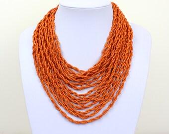 Orange Coral Colour Necklace. Multi Strand Necklace. Bib Necklace. Collar Stlye. Masai Beads. MapenziGems DB25