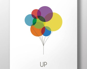 UP Movie Wall Art | Colorful Print | Balloons | UP | Colored Balloons | Printable Art | Illustration | Art Printable | Instant Download