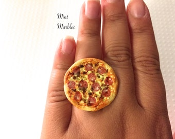 Pepperoni Pizza Ring. Miniature Cheese Pizza. Brass Adjustable Ring. Kawaii Food Jewelry. Statement Ring. Fun. Whimsical. Unique Yummy.