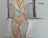 ORIGINAL Pastel Figure Drawing-Colorful and Expressive Gesture Drawing-Female Nude-Playful line-Life drawing on toned paper-Affordable art