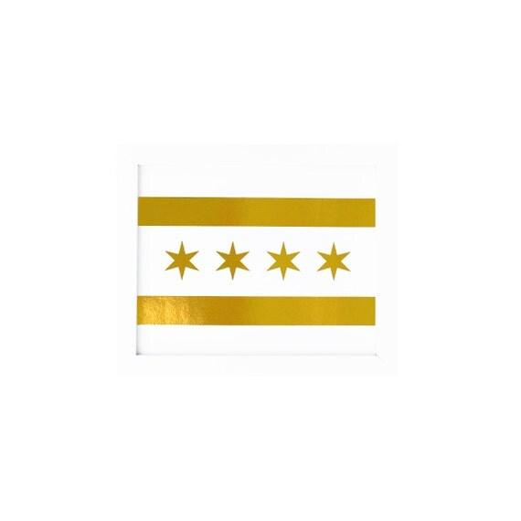 Chicago Flag Print Gold Chicago Flag Chicago Flag Chicago