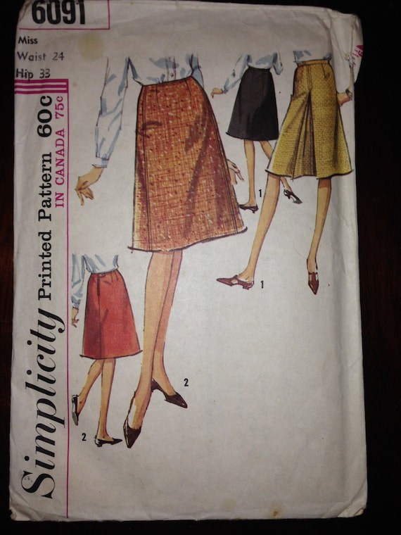 Vintage 60s Simplicity 6091 Sewing Pattern Misses Set of Skirts Waist 24