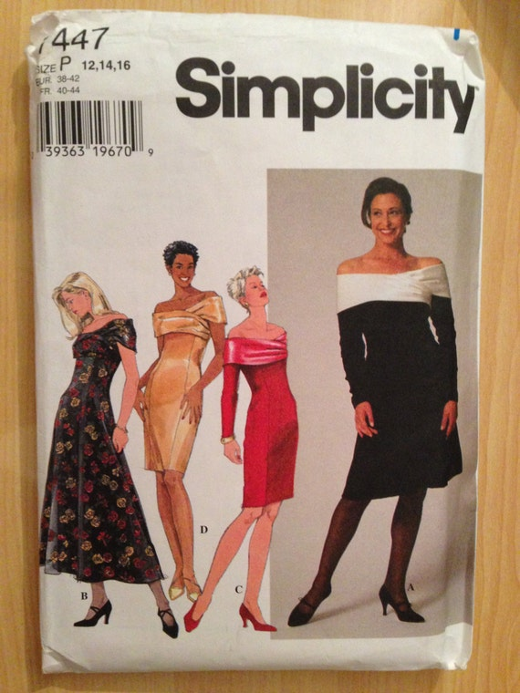 Simplicity 7447 Sewing Pattern Uncut 90s Misses and Miss Petite Dress Size 12-14-16