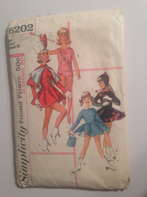 Simplicity Sewing Pattern 6202 60s Girls and Teens Twirler, Majorette and Skating Costume Size 7