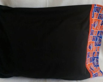 Standard Size Pillowcase - BSU - Boise State University - Blue and Orange and Black - Bronco, Squares