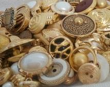 Vintage Golden button lot - 30 pcs grab bag - SALE