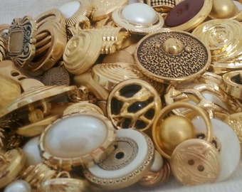 Vintage Golden button lot - 30 pcs grab bag - SALE