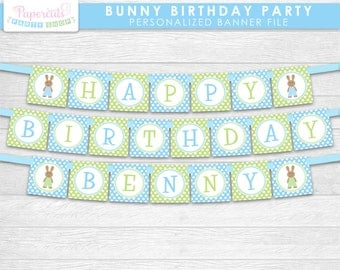 Bunny Rabbit Boy Theme Happy Birthday Party Banner | Blue & Green | Personalized | Printable DIY Digital File