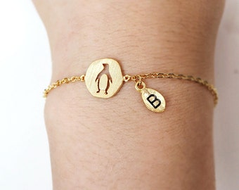 penguin bracelet, Personalized bracelet, initial bracelet, animal bracelet, best friend bracelet, animal, leaf initial
