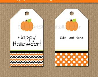 Printable Halloween Tags - Pumpkin Halloween Tags - Pumpkin Tags - Pumpkin Favor Tags - EDITABLE Halloween Gift Tags - Fall Gift Tags  P1