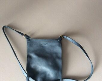 Faded Blue Jeans saddle leather Charles et Charlus FRANCE backpack bag, vintage
