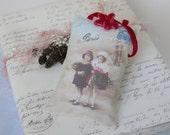 French Christmas Gift Sachet, Paris Christmas, Red Velvet Ribbon Flower, Lavender Sachet, Antique Postcard, Script