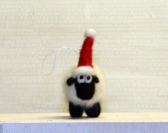 Needle Felted Christmas Sheep Ornament - Wool Sheep Christmas Decoration