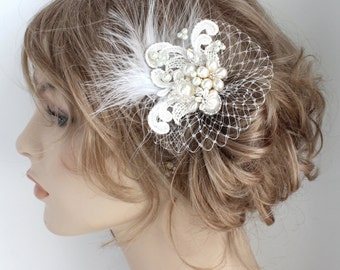 Bridal Hair Accessory- Feather Bridal Comb- Pearl Bridal Comb- Birdcage Hairpiece- Ivory Hair Accessory- Wedding Hairpiece- Lace Haircomb