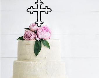 Cross Silhouette Shower Cake Topper | Baby Shower Cake Topper | Baby Blessing | First Communion | Baptism