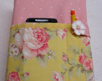 Shabby chic romantic pink yellow roses protective Bible case, cover, purse, accessory, holder, fabric cloth, padded washable, book, novel