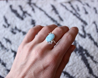 Larimar Ring, Sterling Silver Ring, Ring Size 6.75 US