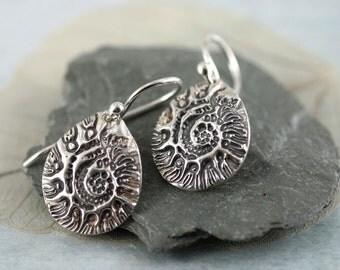 Fine Silver Dangle Earrings. Ammonite Impression - Snail Sea Shell