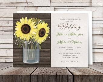 Sunflower Wood Mason Jar Rustic Wedding Invitations and RSVP - Printed Invitations