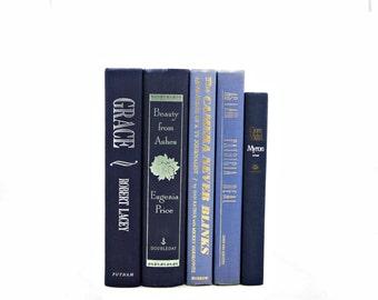 BLUE Decorative Books, GOld Old Book set, Wedding Decor Centerpiece, Home Design, NavyAntique Book Collection, Blue Violet Instant LIbrary