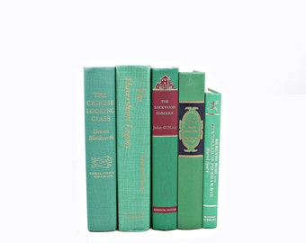 Decorative Books, Vintage Books, Old Books, Shades of Mint, Green Book Decor Centerpiece, Book Collection, Instant Library, Teal Book Set,